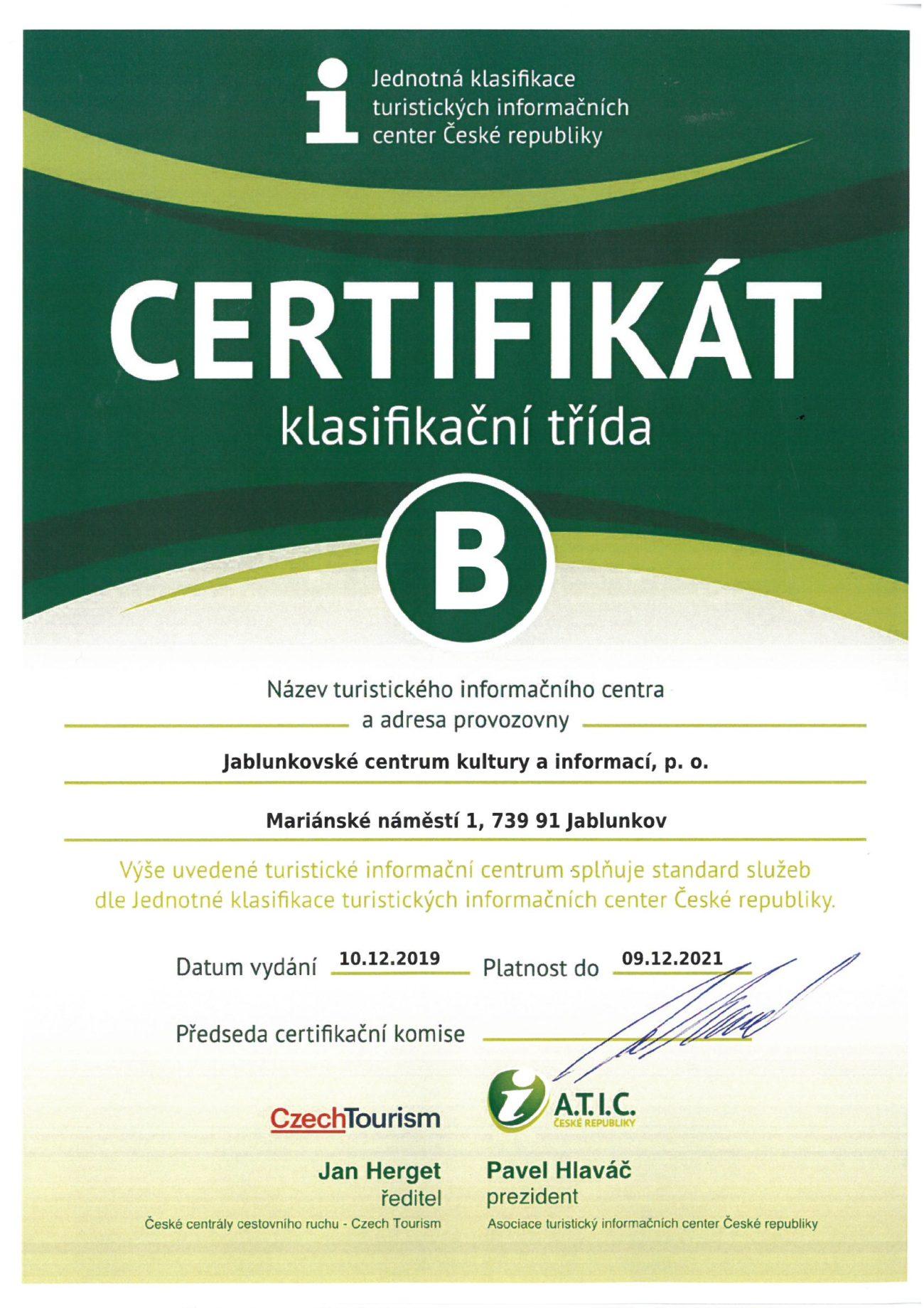 certifikát IC